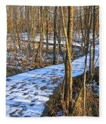 Winter Woods Walk Fleece Blanket