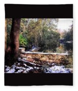 Winter Woods With Melting Snow Fleece Blanket