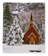 Winter Yosemite Chapel Fleece Blanket