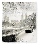 Winter's Touch - Bow Bridge - Central Park - New York City Fleece Blanket