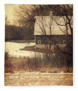 Wisconsin Barn In Winter Fleece Blanket