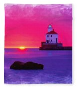 Wisconsin Point Lighthouse Fleece Blanket