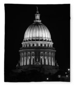 Wisconsin State Capitol Building At Night Black And White Fleece Blanket