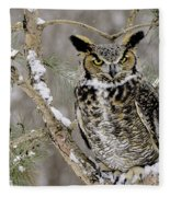Wise Old Great Horned Owl Fleece Blanket