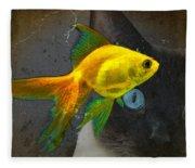 Wishful Thinking - Cat And Fish Art By Sharon Cummings Fleece Blanket