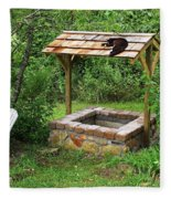 Wishing Well And Cat Fleece Blanket