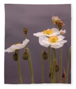 Wispy White Floral Fleece Blanket