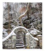 Wissahickon Steps In The Snow Fleece Blanket