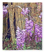 Wisteria And Old Fence Fleece Blanket