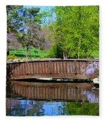 Wisteria In Bloom At Loose Park Bridge Fleece Blanket