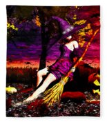 Witch In The Pumpkin Patch Fleece Blanket