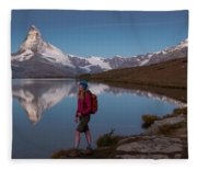 With The Matterhorn In The Background Fleece Blanket