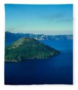 Wizard Island In Crater Lake, Oregon Fleece Blanket