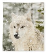 Wolf In Snow Fleece Blanket