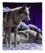 Wolf Painting - Night Watch Fleece Blanket