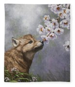 Wolf Pup - Baby Blossoms Fleece Blanket