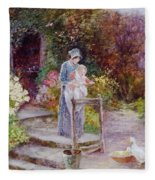 Woman And Child In A Cottage Garden Fleece Blanket