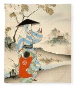 Woman And Child  Fleece Blanket