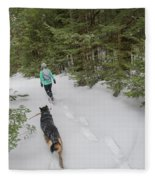 Woman And Dog Walking In Forest Fleece Blanket