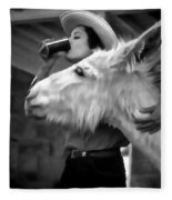 Woman And Donkey Black And White Fleece Blanket