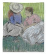 Woman And Girl On The Grass Fleece Blanket