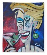 Woman At Martini Bar Fleece Blanket by Tim Nyberg