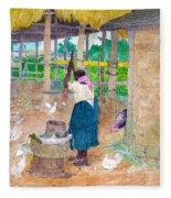 Woman Beating Cassava Jamaica Fleece Blanket