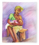 Woman Breastfeeding Bay In Rwanda Fleece Blanket