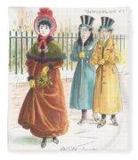 Woman Carrying Bunch Of Mistletoe Fleece Blanket