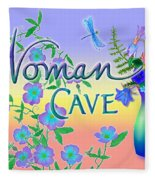 Woman Cave With Dragonfly Fleece Blanket