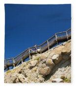Woman Climbing Stairs Fleece Blanket