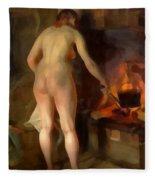 Woman Cooking Over An Open Fire Fleece Blanket