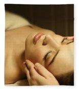 Woman Having A Facial Massage Fleece Blanket