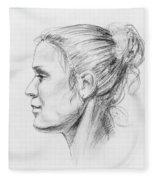Woman Head Study Fleece Blanket