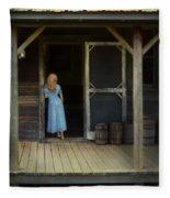 Woman In Cabin Doorway Fleece Blanket