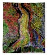 Woman In Glow Fleece Blanket