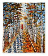 Woman In Red In Fall Rainy Day Fleece Blanket