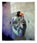 Woman In Silver Mask Fleece Blanket
