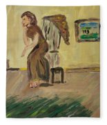 Woman In The Art Gallery Fleece Blanket