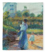Woman In The Garden Fleece Blanket