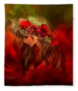 Woman In The Poppy Hat Fleece Blanket