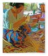Woman Making Umbrella Ribs At Borsang Umbrella Factory In Chiang Mai-thailand Fleece Blanket