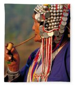 Akha Hill Tribe Woman  Thailand Fleece Blanket