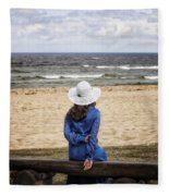 Woman On A Bench Fleece Blanket