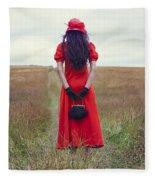 Woman On Field Fleece Blanket