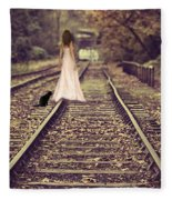 Woman On Railway Line Fleece Blanket