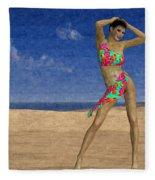 Woman On The Beach... Fleece Blanket