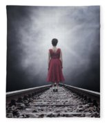 Woman On Tracks Fleece Blanket