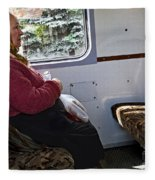 Woman On Train - Budapest Fleece Blanket