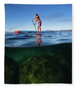 Woman Paddleboarding In The Lake, Lake Fleece Blanket